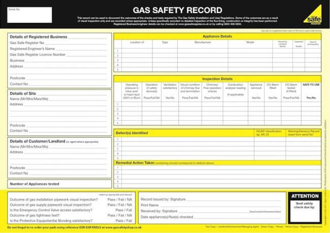 Gas safety certificates