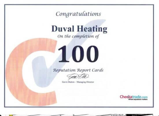 Duval Heating Review Certificate